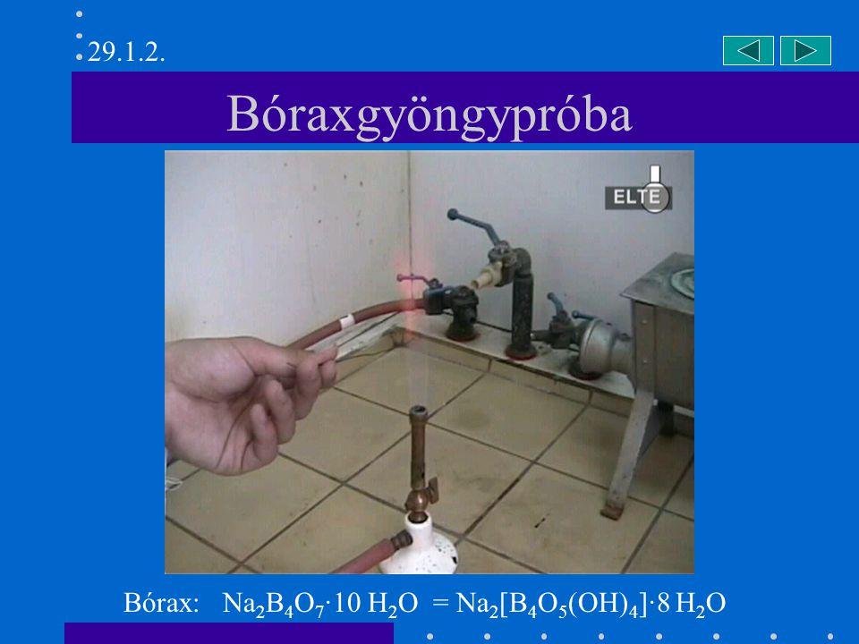 29.1.2. Bóraxgyöngypróba Bórax: Na2B4O7·10 H2O = Na2[B4O5(OH)4]·8 H2O